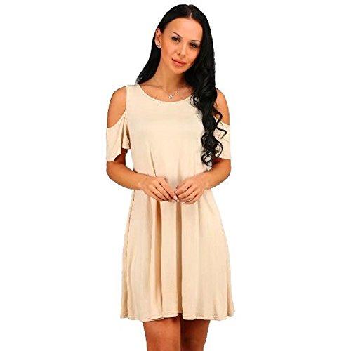 Cold Beige BetterGirl Dress Womens TM Loose Casual T Shirt Dresses Shoulder Swing Short Sleeve BOHqtnO