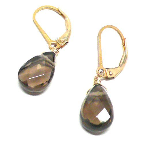 Created Smoky Quartz Briolette Lever Back Earrings Gold-Filled