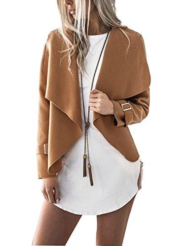 Sophieer Lady's Cute Spring No-buckle Asymmetric Outerwear Jackets Blazer Camel L - Asymmetric Buckle