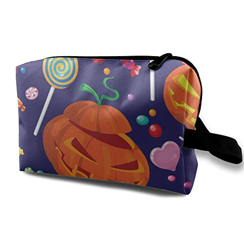 Yunshm Seamless Halloween Candy Vector Image Love Cosmetic Storage Bag Large Capacity Woman for Travel Carry Bag for $<!--$11.89-->