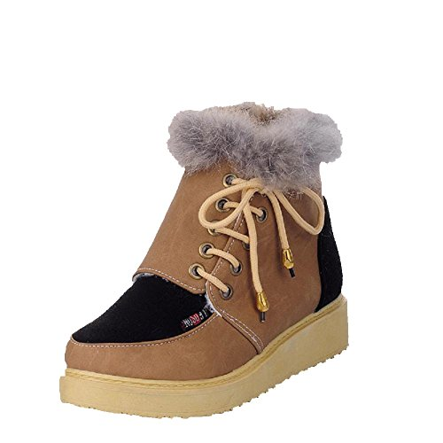 Allhqfashion Women's Low-Top Assorted Color Lace-up Round Closed Toe Low-Heels Boots Brown oXXLuCX9uE