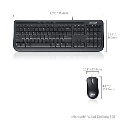 Microsoft Wired Desktop 600 Spill Resistant Keyboard Optical Scroll Mouse Plug-And-Play Setup (Mouse Microsoft Wired)