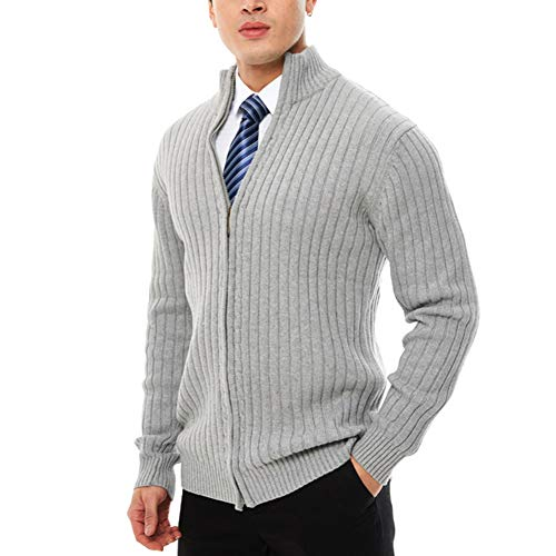 APRAW Men's Casual Slim Fit Sweaters with Zipper Cotton Knitted Cardigan Light Grey ()