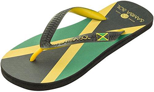 Samba Sol Mens Flagga Samling Flip Flops - Modet Och Bekväma. Trendiga Och Klassiska Sandaler För Mens. Jamaica