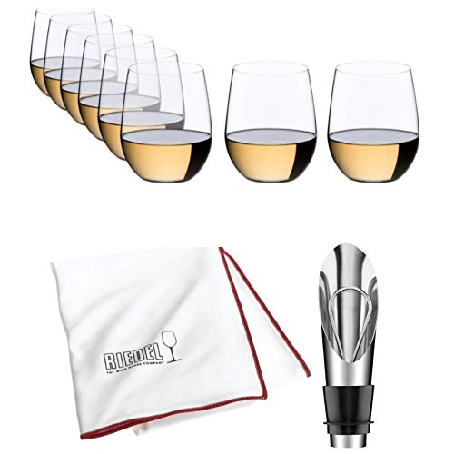 Riedel O Wine Tumbler Viognier/Chardonnay, Pay for 6 get 8 Includes Wine Pourer with Stopper and Riedel Polishing Cloth