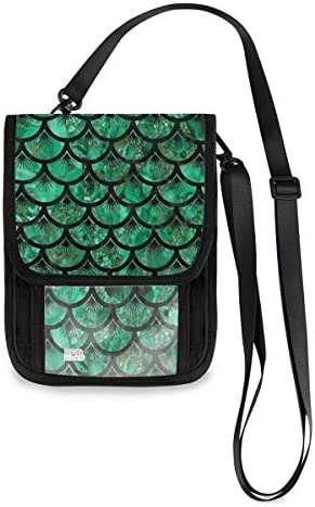 トラベルウォレット ミニ ネックポーチトラベルポーチ ポータブル 緑 魚の鱗 小さな財布 斜めのパッケージ 首ひも調節可能 ネックポーチ スキミング防止 男女兼用 トラベルポーチ カードケース