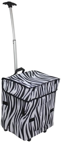 Smart Cart, Zebra  Rolling Multipurpose Collapsible Basket Cart Scrapbooking - Fashion Express Zebra