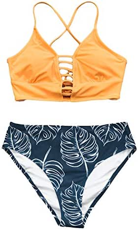 CUPSHE Women's Yellow and Leaves Print Lace Bikini Set