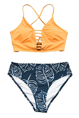 CUPSHE Women's Yellow and Leaves Print Lace Bikini Set Small