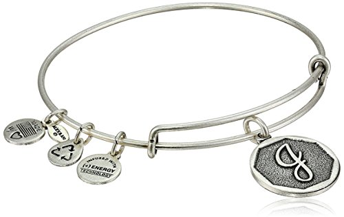 "Alex and Ani Rafaelian Silver-Tone Initial ""J"" Expandable Wire Bangle Bracelet, 2.5"" from Alex and Ani"