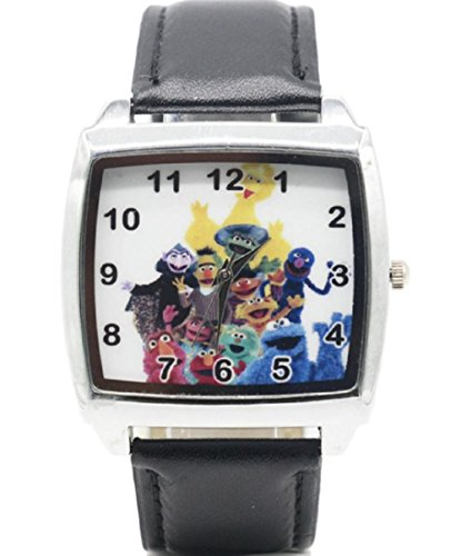 (New Horizons Production Cookie Monster & Friends Characters Genuine Leather Band WRIST WATCH)