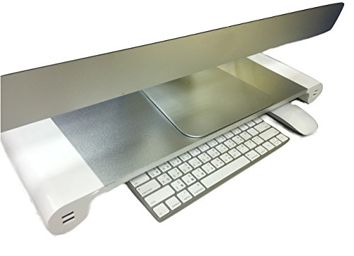 27 Inch Computer Monitor Riser Stand - 4 USB Power Charger Port (WALL PLUG) - Full Size Keyboard Storage Desk Organizer
