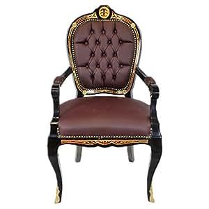 Casa-Padrino de Lujo sillón Barroco Negro/Oro / Crema - Lujo Silla de Escritorio