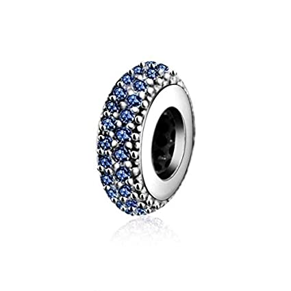 b5312cbb0 Image Unavailable. Image not available for. Color: Ochoos Fits Original  Pandora Charms Bracelet Silver Spacer with Cubic Zirconia Beads 100% 925  Sterling