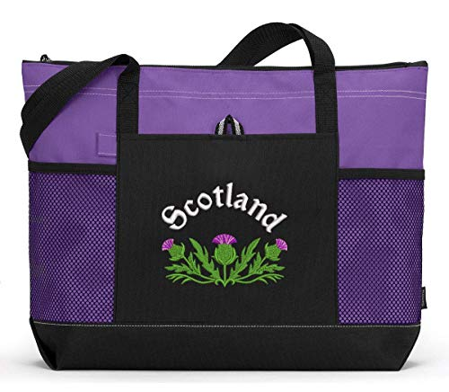 (Scottish Thistle Personalized Embroidered Tote Bag with Mesh Pockets)