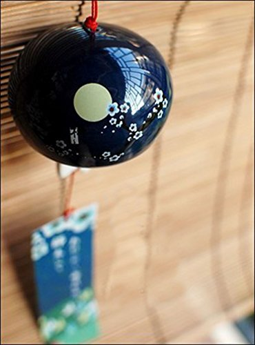 Japanese Wind Chimes Wind Bells Ceramic wind bell garden chime Birthday Gift Christmas Gift Home Decors (Winter Prunus (Japanese Garden Decor)