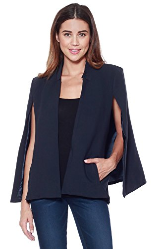 A+D Womens Woven Structured Cape Blazer Suit Jacket w/ Pockets (Navy, Medium)
