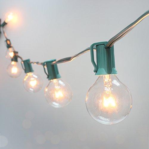 50Ft G40 Globe String Lights w/ Clear Bulbs Edison Screw Bas
