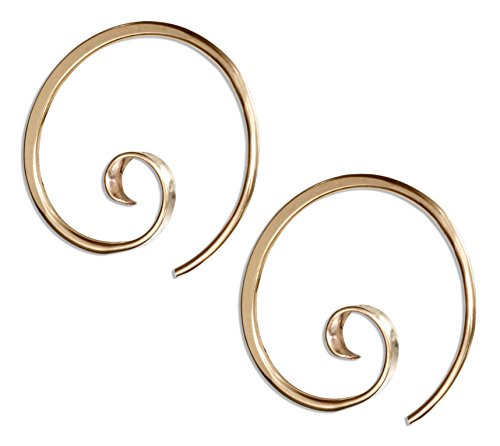 12 Karat Gold Filled 24mm Spiral Threader Wire Hoop Earrings (Gold Spiral Earrings Filled)