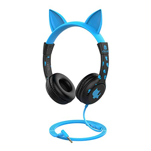 [Upgrade] iClever Kids Headphones Boys - Cat Ear Hello Kitty Wired Headphones for Kids with MIC, Adjustable 85/94dB Volume Control - Toddler Headphones on Ear for School School Tablet, Black/Blue