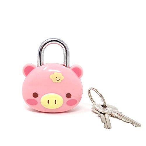 Honbay Cute Pink Pig Lock Padlock with Keys for Suitcases, Backpacks and Lockers