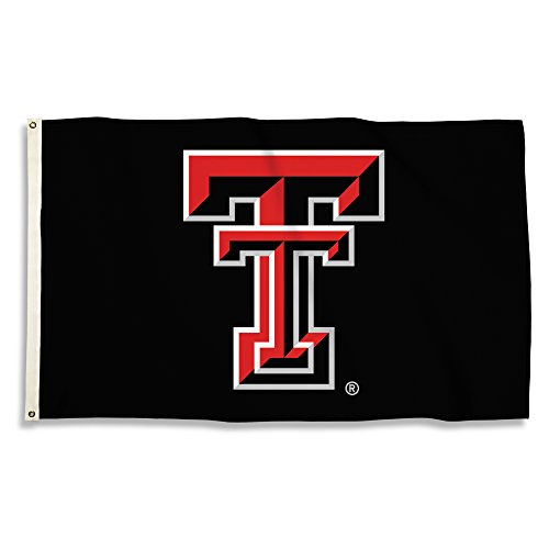Bsi Products Ncaa Banner - NCAA Texas Tech Red Raiders Flag with Grommets, 3' x 5', Black