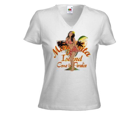 Damen T-Shirt Come to Paradise weiß Margarita Pinup Rockabilly Gr.XS