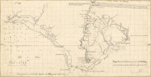 1815 Map Plano borrador del límite comun á las dos Floridas y de los territorios de ambas provincias