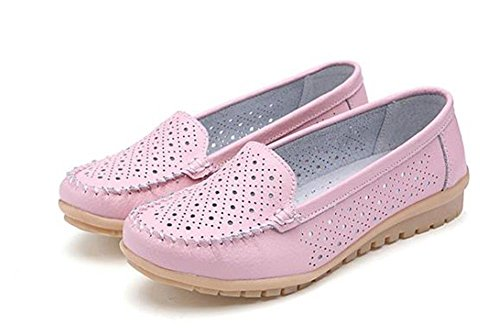 Minetom Damen Maedchen Hohl Flach Freizeit Business Schuhe Mokassin flach Arbeiten Loafer Slipper Sommer Schuhe Bootsschuhe Pink