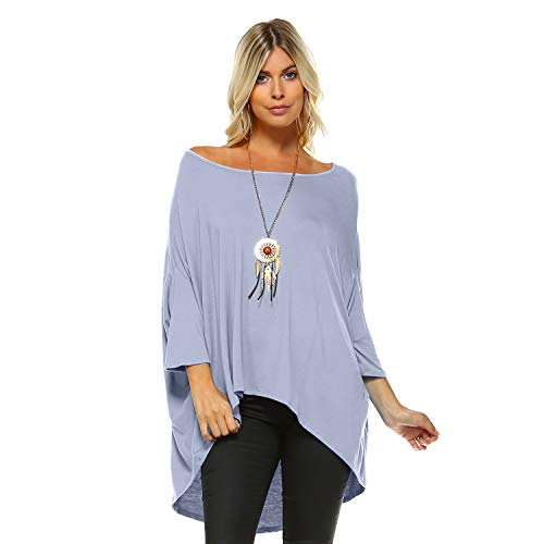 Isaac Liev Women's Batwing Off Shoulder Baggy Oversized Loose Blouse Tunic Shirt Top (Lilac, Large)