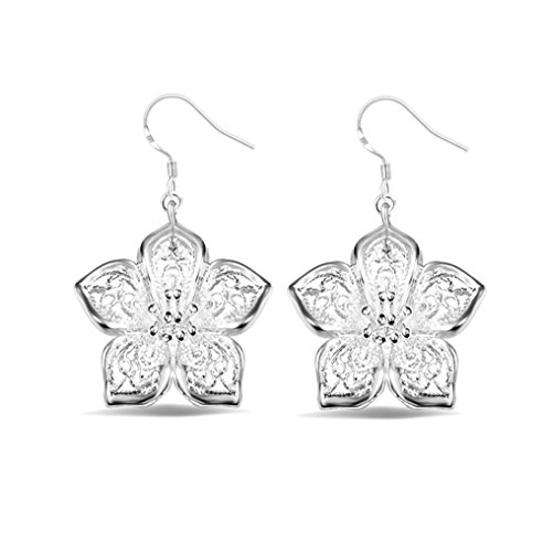Price comparison product image Winter's Secret Silver Plated Hollow out the Rose Flower Delicate Girl Stud Dangle Earring