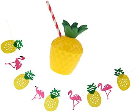 ハワイアン トロピカル パイナップル フラミンゴ バンティング+ 10個 カップ ストロー