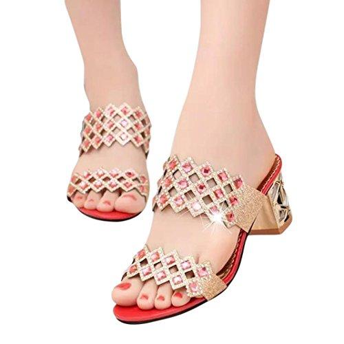 Fheaven Le Donne Più Recenti Estate Grande Strass Sandali Tacco Alto Sandalo Da Spiaggia Rosso Pantofola