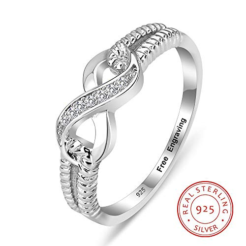 (Personalized 925 Sterling Silver Eternity Ring for Women | Engraving Infinity Rings | Wedding Promise Rings)