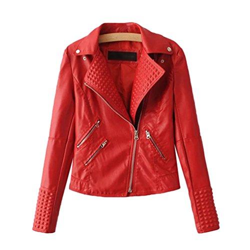 de sintético Abrigo Bike Baymate Cuero Mujer Vintage Cazadora Remache Rojo Chaqueta qwxIwAU1Z