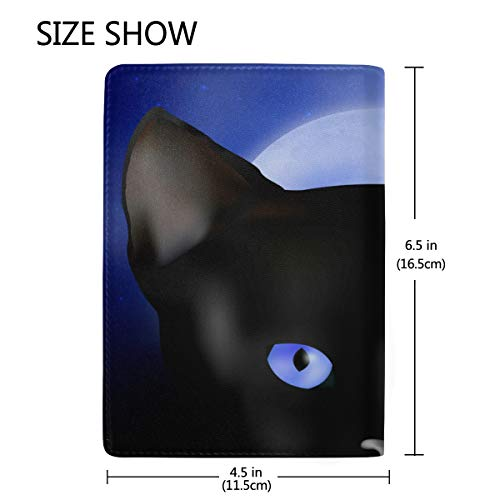 Black Cat Real Leather Passport Holder Wallet Case Cover for Men Women by Hulahula (Image #2)
