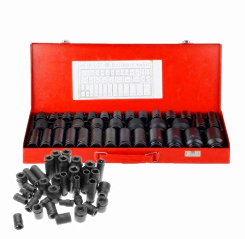 1/2- Inch Drive Master Impact Socket Metric Set ,35-Piece | Metric 8-32mm | 6 Point Deep/Shallow Size | CR-V Steel
