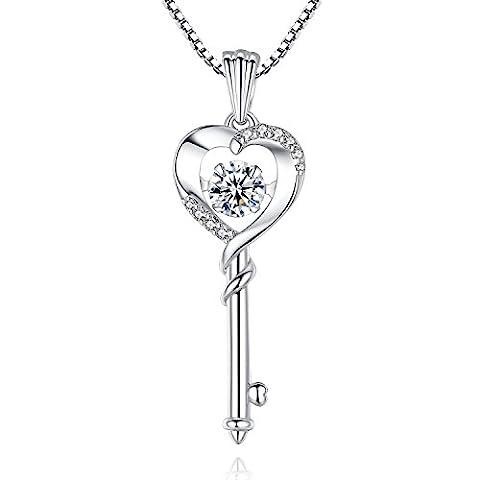Good Luck 'Dancing Diamond' Heart key Cubic Zirconia CZ Pendant Necklace, Jewelry for Women, Girls, Her, Sister, Wife, Friendship, Mom, Mother, Grandma, Birthday, Christmas, Anniversary Day - Cubic Zirconia Pendant Jewelry