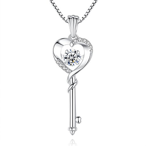 (Good Luck 'Dancing Diamond' Heart Key Cubic Zirconia CZ Pendant Necklace, Jewelry for Women, Girls, Her, Sister, Wife, Friendship, Mom, Mother, Grandma, Birthday, Christmas, Anniversary Day Gifts)