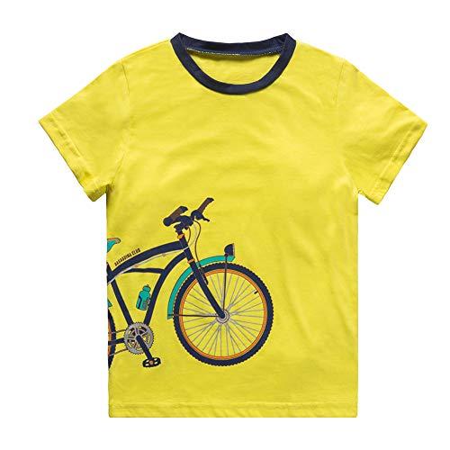 Boys T-Shirts Tee Shirts School Short Sleeve Crew Neck Cotton Kids Tops Clothes Yellow ()