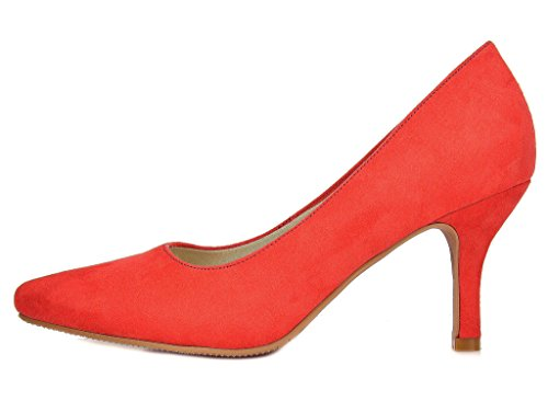 Comodo Women's Shoes Red Stiletto Pump Low DREAM Heel PAIRS xz6ynB