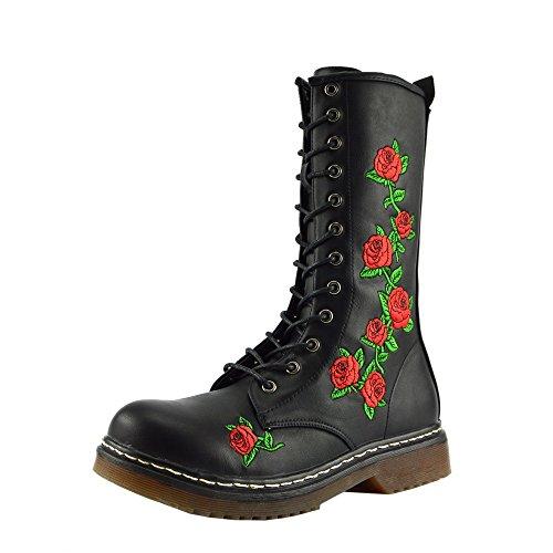 Botas largas para mujer con cordones de zapatos hasta la rodilla botas altas de invierno Black Rose