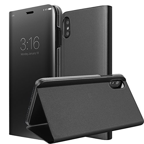 iPhone X/10 Case, AICase Smart Sleep/Wake Up Function Translucent View Window Front Cover Mirror Screen Flip Electroplate Plating Stand Full Body Protective Case for Apple iPhone X/10 (Black)