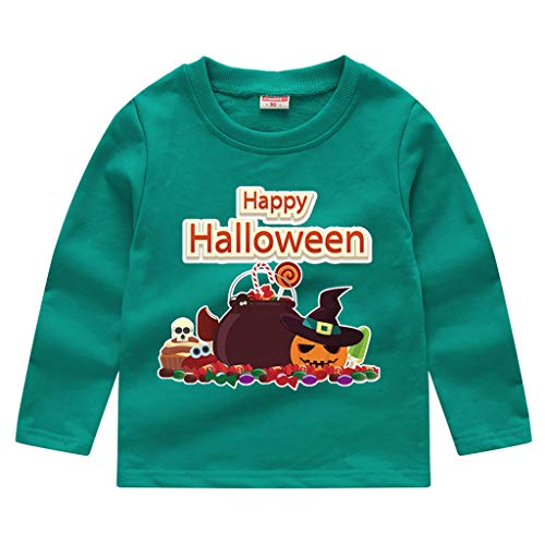 Toddler Kids Long Sleeve T-Shirt,Crytech Baby Boy Girls Trick Or Treat Pumpkin Ghost Skull Print Pullover Sweatshirt Halloween Theme Costume Fall Winter Tee Shirts (3-4 Years, Green)