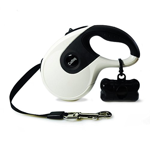 Cadtog Retractable Dog Leash,16 ft Dog Walking Leash for Medium Large Dogs up to 110lbs,One Button Break & Lock, Dog Waste Dispenser and Bags included (Black&White) by Cadtog