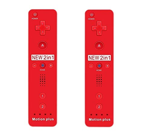 SIBIONO – Wii Remote Motion Plus Controller (2 Packs) for Nintendo Wii&Wii U Video Game Gamepads. (Red)