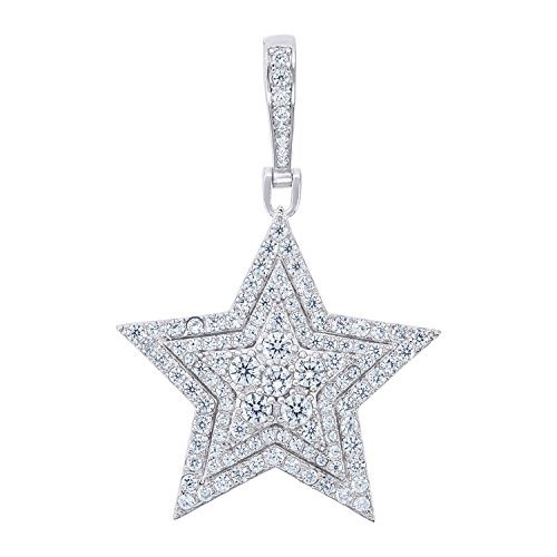 Jewels By Lux Sterling Silver Mens Round Cubic Zirconia CZ Star Cluster Charm Pendant Set With The Highest Quality Cubic Zirconia. (Round Prong Set Cluster Pendant)