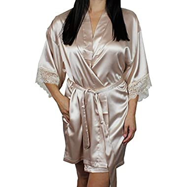 Women's Satin Kimono Bridesmaid Short Robe Lace Trim Sleeves - Champagne M/L