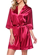 Ekouaer Women's Lace-Trim Kimono Style Short Satin Robe Sleepwear with 3/4 Sleeve