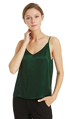Mommesilk 16mm 100 Pure Silk Camisole for Women Cami Tank Tops Soft V-Neck Deep Green Size L